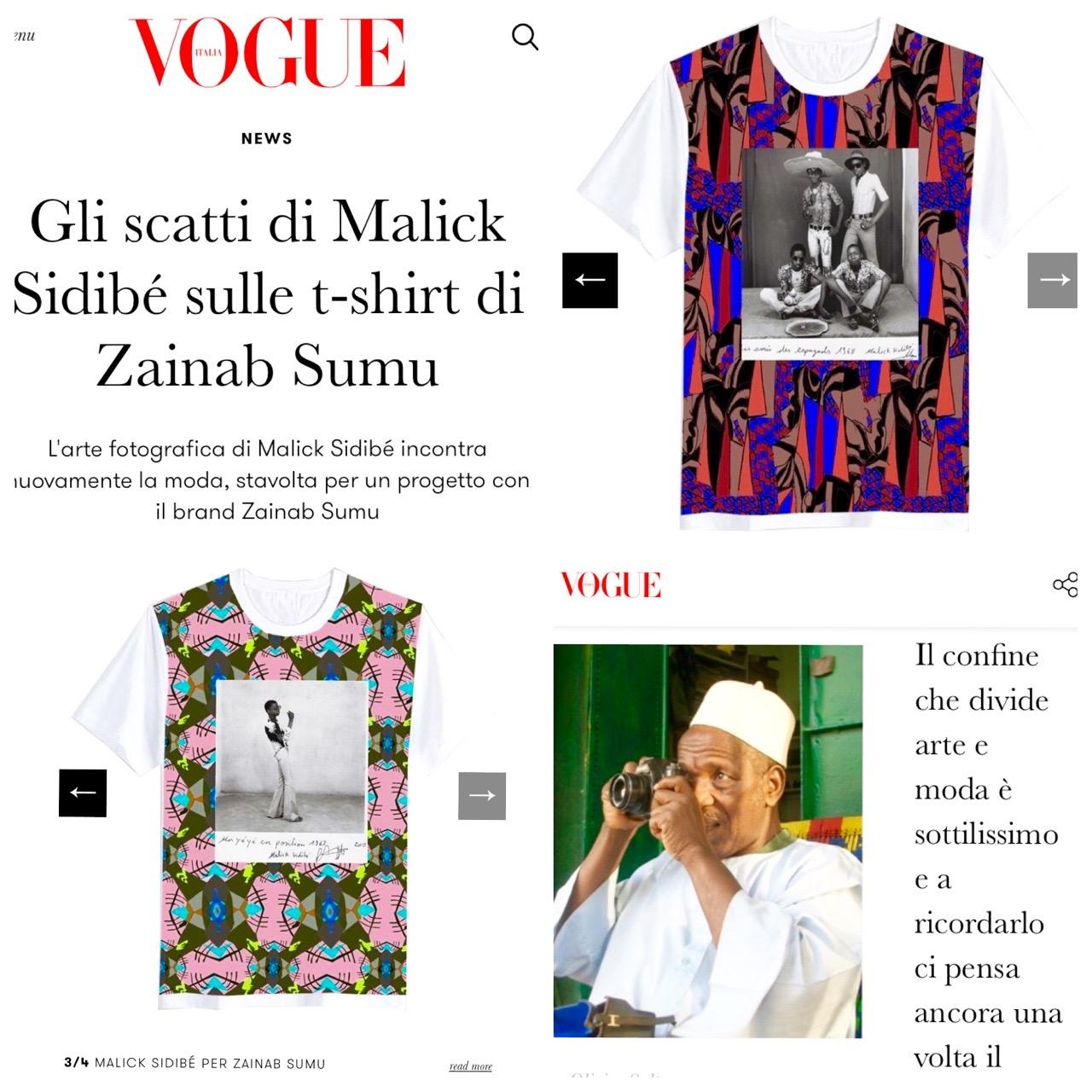 Italian Vogue - Malick Sidibe x Zainab Sumu T-Shirt Collab