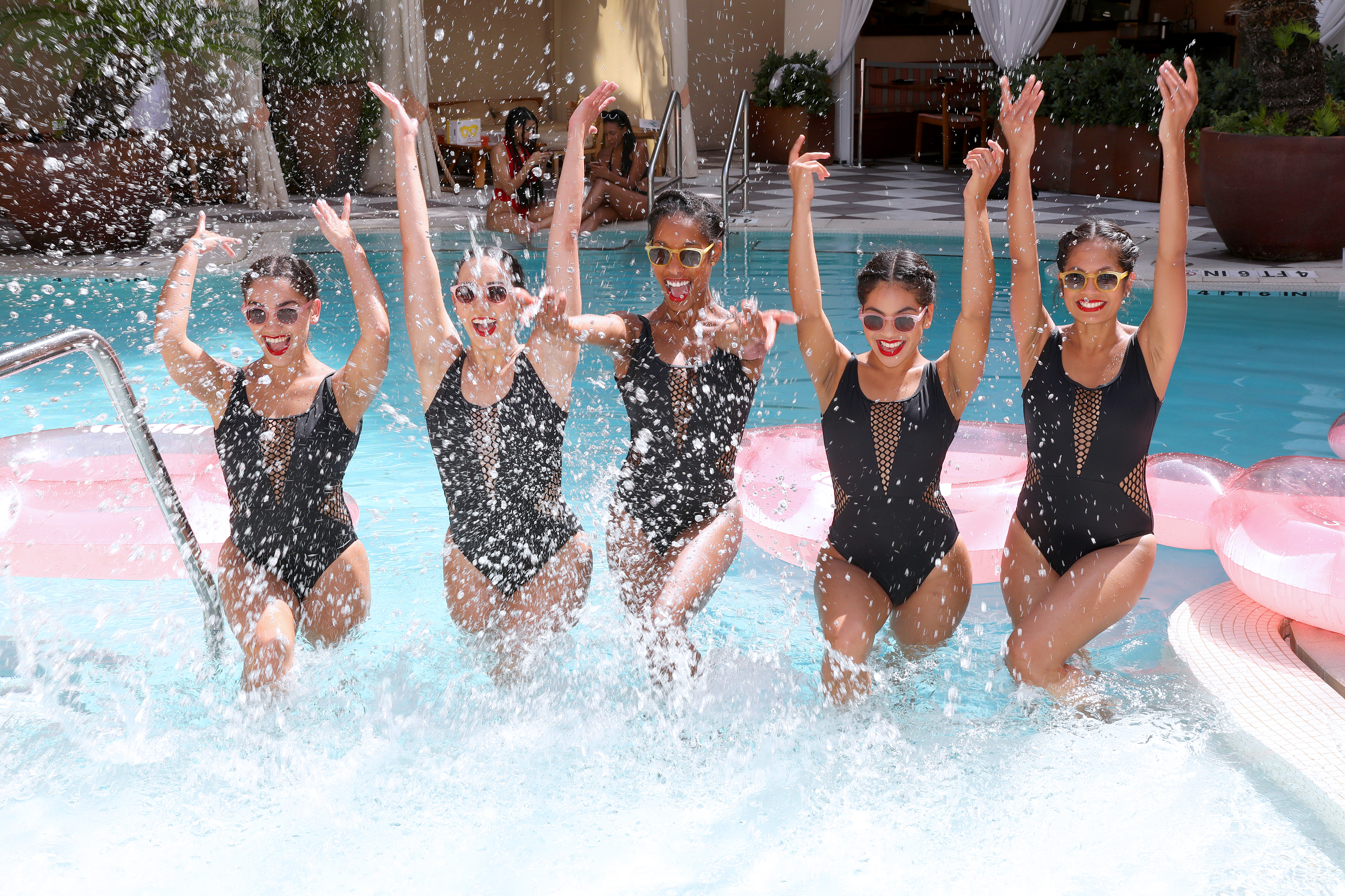 MIAMI BEACH, FLORIDA - JULY 13: Synchronized swimmers perform during the IIzipizi X Sunny Life Pool Party, Music By Odalys And Special Performance By Aqualillies - Paraiso Miami Beach at the Plymouth Hotel Miami on July 13, 2019 in Miami Beach, Florida. (Photo by Aaron Davidson/Getty Images for Paraiso Miami Beach)